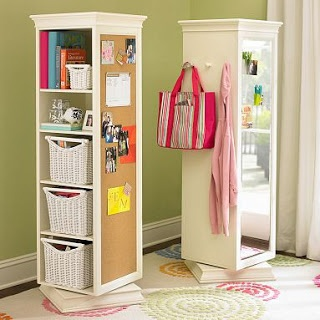 You glue a cork board and attack a mirror on to the shelves and put it on a base that can spin! would look so cool in a walk in closet or by a vanity.