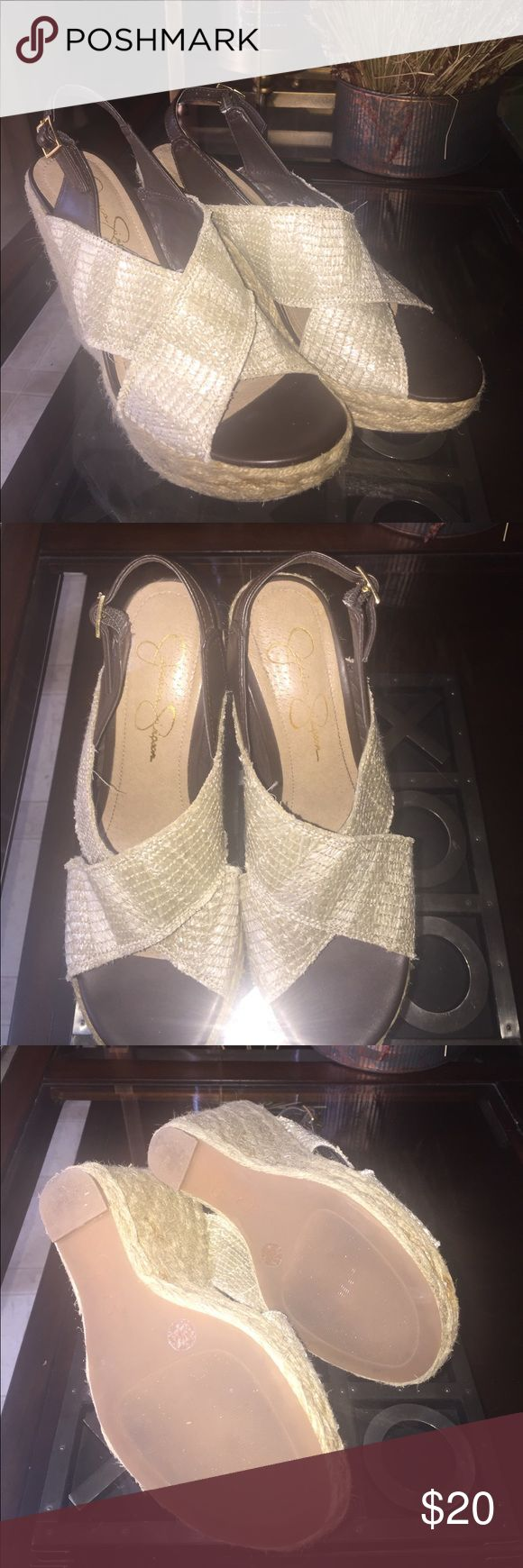 Jessica Simpson Wedges Straw and brown wedges Jessica Simpson Shoes Wedges
