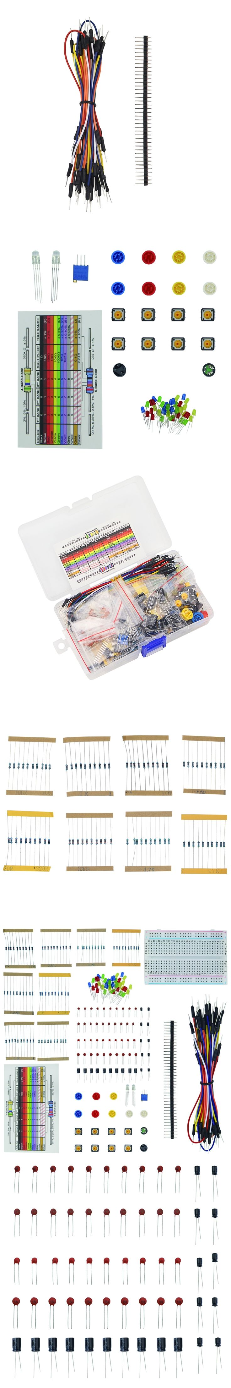 1 set Resistor LED Capacitor Jumper Wires Breadboard Handy Starter Kit for UNO R3 Raspberry Pi 3 + Retail Box for Arduino