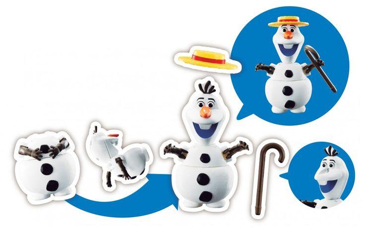 Comment passer à côté d'Olaf, le petit bonhomme de neige, créé par Elsa, La Reine des Neiges ! Tout blanc, tout mignon, il est disponible ici avec son chapeau et sa canne…#HatchnHeroes #Buzz #Woody #Olaf #Nemo #Doris #jouet #bandai #oeuf #transforme #Disney #ReinedesNeiges #Frozen