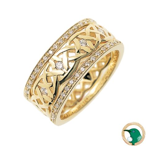 Our ladies Dreams Diamond set Celtic ring in 18ct yellow gold featuring a diamond set Celtic weave (x5 0.25ct diamonds) and diamond set rails (x20 0.005 diamonds set in each rail) that cover the top half of the ring. A total of 45 diamonds make this ring truly eye catching and extra special!