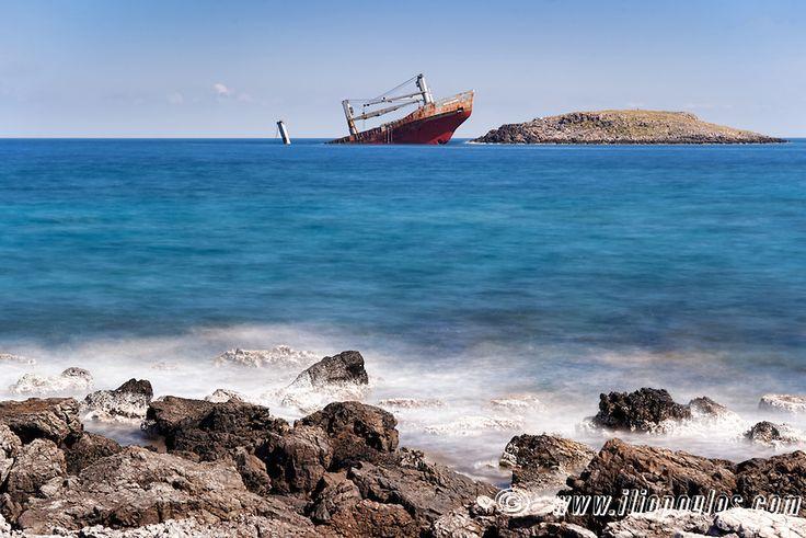 The shipwreck of Diakofti at Kythera, Greece