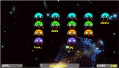 Typing practice games, to help my kids get better at typing. Play Spacebar Invaders Now