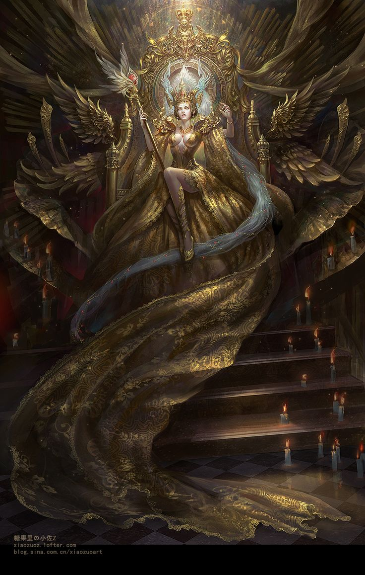 Gold queen Ophelia by Xiao Zuo ( concepts / concept / art / characters / character / digital / games / game / fantasy / gold armor / golden armour / throne / sword / blonde black hair / female / swords / staff / metal / warrior / scales / chain mail / chainmail / arcane circle / mage / wings / wing / illustration / illustrative / splash art / design / human / ):