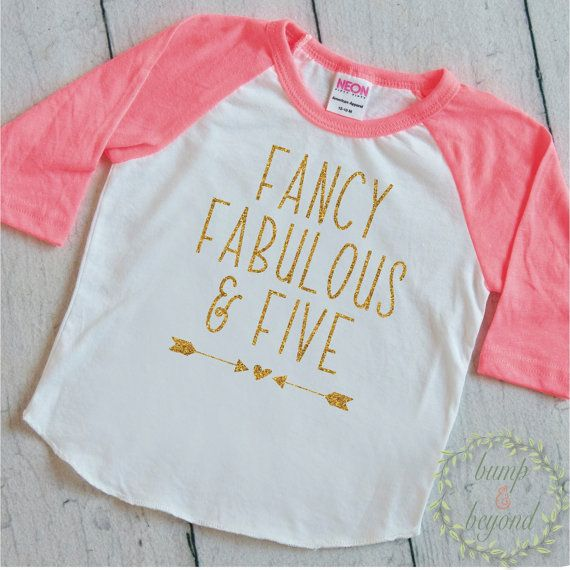 5th Birthday Outfit Birthday Shirts for Girls Five and Fabulous Fifth Birthday Shirt Fancy Fabulous and Five Kids Birthday Shirts