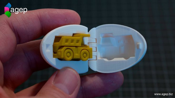 3D Printable Surprise Egg No1 - Tiny Haul Truck Toy Download the printable files for free!  Both the truck and the egg was each designed to be printed in place without any support structures. The truck has rotatable wheels and a tiltable bed. The egg is hinged