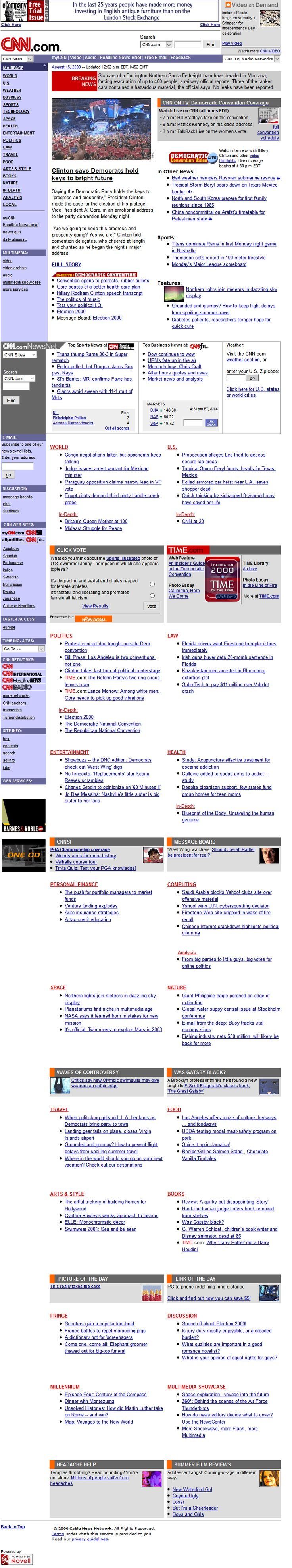 CNN.com website in 2000
