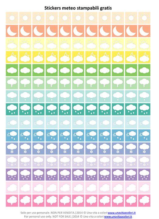 Stickers meteo, ideali per segnare il meteo sulla propria agenda ogni volta che si vuole. Scaricare gratis e stampare su fogli adesivi per poi ritagliarli.
