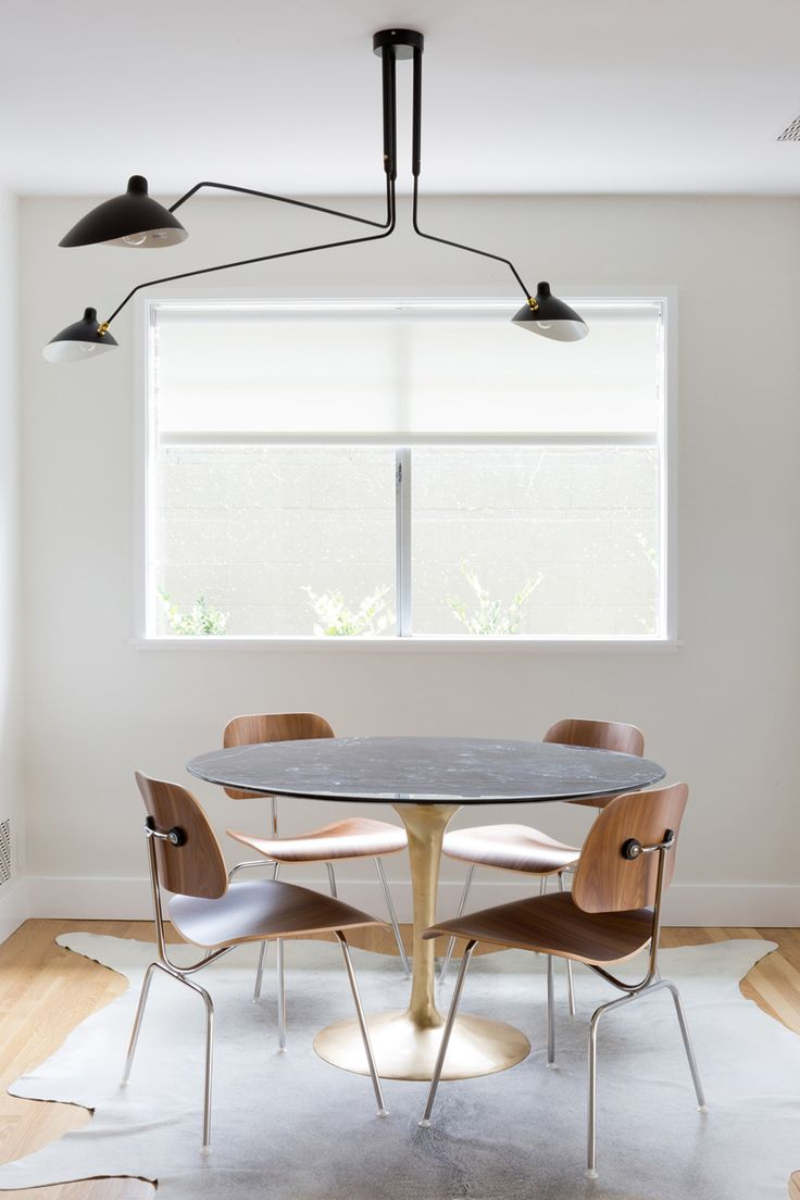 Simple, Modern, Neutral, Pared Back Dining Room With Gold Tulip Table