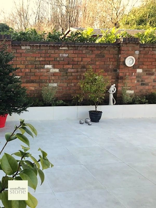Portland White Porcelain | Spa Collection Tiles | Westminster Stone |  Contemporary garden, White porcelain tile, Garden paving