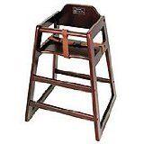"Winco CHH-103 Unassembled Wooden High Chair, Mahogany. Wood construction. Mahogany color. Non-assembled. Length: 20"". Width: 20"", Mahogany color."