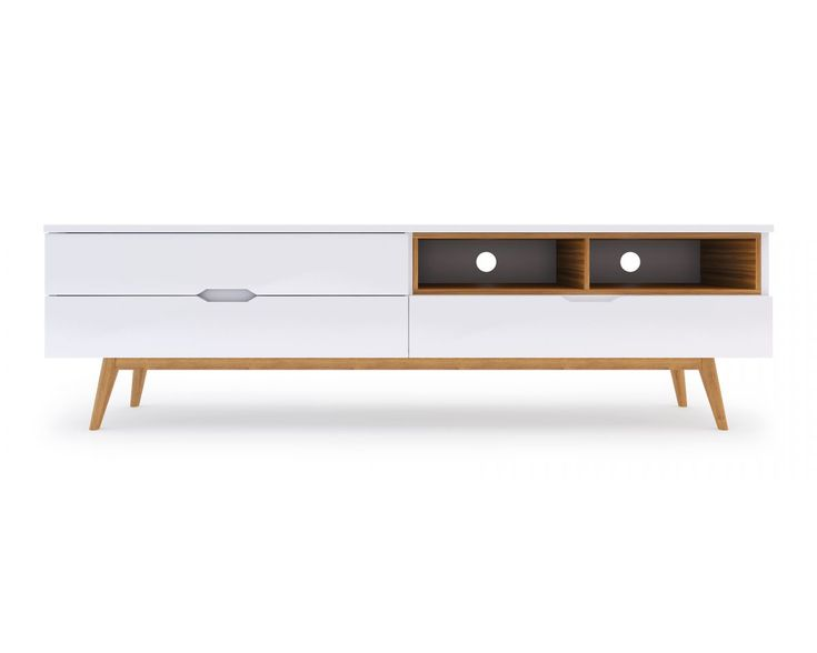 The bold, asymmetrical Scandinavian design of the Nilsson TV Stand features white powder coated MDF drawers, timber veneer open shelves and solid American Oak tapered legs.
