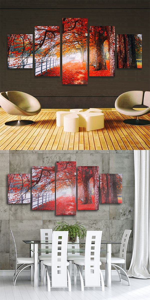 5 Cascade Autumn Red Tree Abstract Canvas