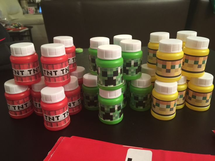 Minecraft bubbles party favor: Print Minecraft faces on mailing labels and attach to favor bubbles from dollar store.