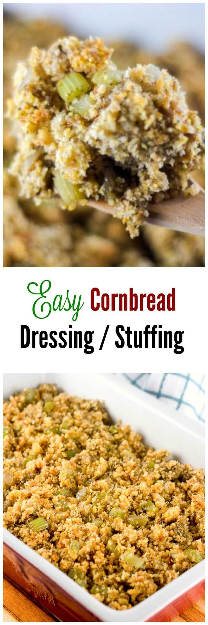 This Easy Cornbread Dressing recipe, or stuffing if you prefer, is a must for a…
