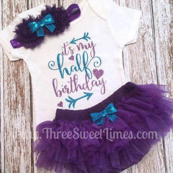 7e290c26 Half Birthday Outfit Baby Girl | Tutu Bloomers | Six Month Half Birthday |  Purple and Teal Glitter | Opt Headband & Ruffle Bloomers Half Way