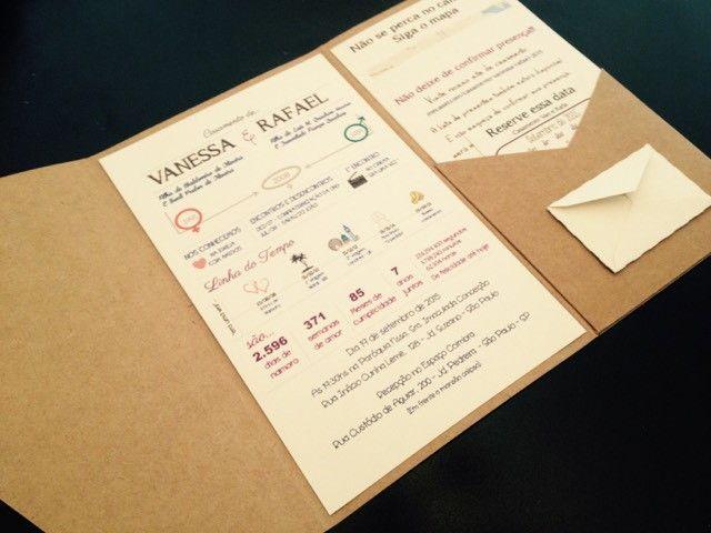 Envelope em papel Kraft 250 g/m², demais impressos em papel Vergê 180 g/m² e cordão de sisal. Convite totalmente artesanal ideal para casamenos no campo, praia ou para quem deseja um convite um pouco mais informal e moderno, pode ser incluso cinta em renda para um toque mais romântico, adereço nã...