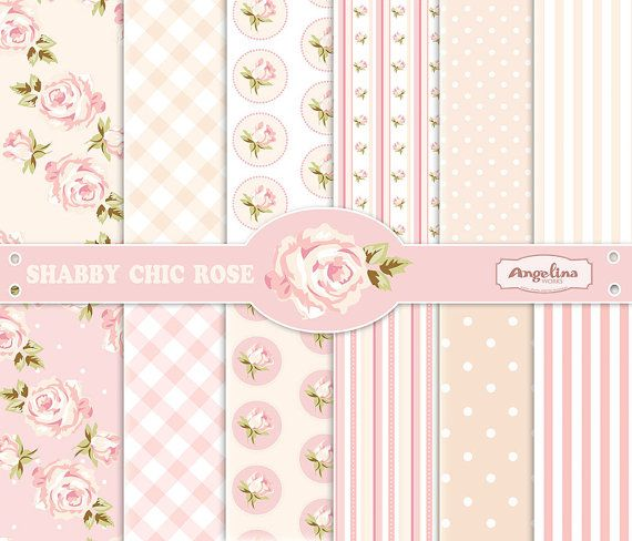 12 Shabby Chic Rose Digital Scrapbook Papers 3 Vector Images In 1 EPS For Invites