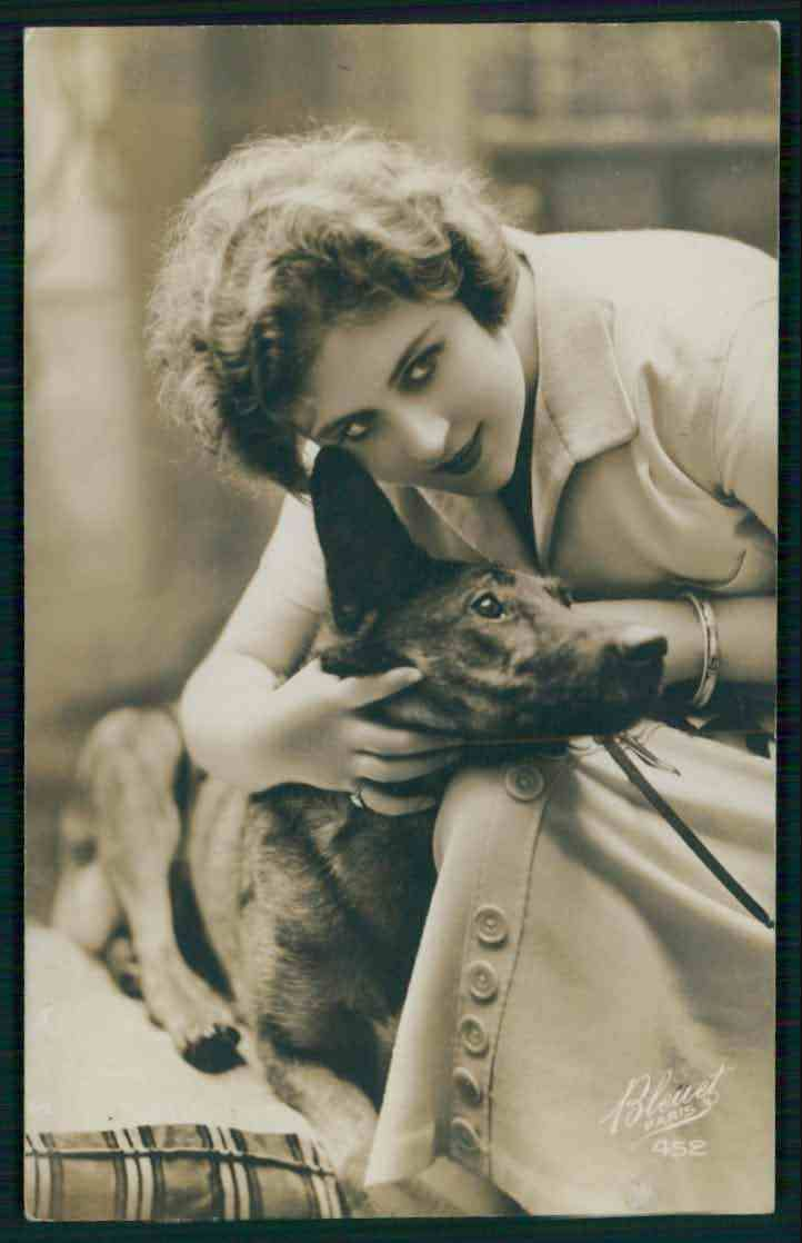 Vintage Woman and her Belgian Malinois