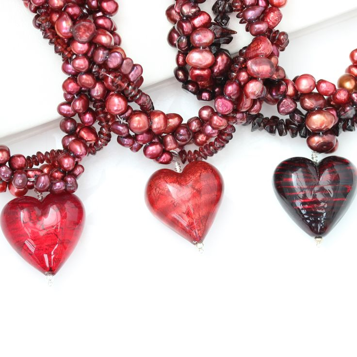 big bold red murano heart and pearl statement necklaces, superb mother of the bride jewellery