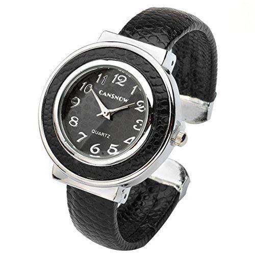JSDDE Uhren,Chic Manschette Damenuhr Candy Ziffern Spangenuhr Schlage Haut Band Armbanduhr Quarzuhr - Schwarz