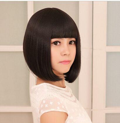 Черный короткая боб парики жаропрочный милый черный короткая боб парики с челками для черный женщины