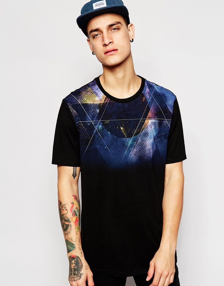 ASOS+T-Shirt+With+Galaxy+Yoke+Print+In+Relaxed+Skater+Fit