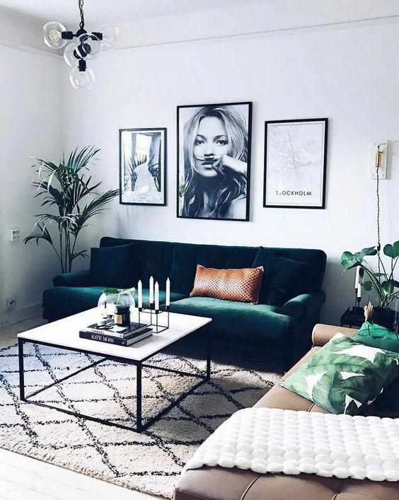Grab some green accents for cute living room ideas with an urban