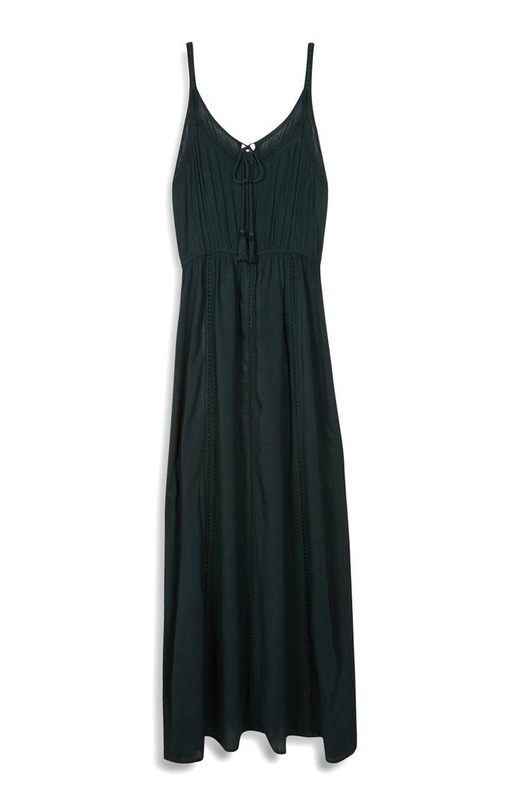Primark - Groene maxi-jurk met haakwerk