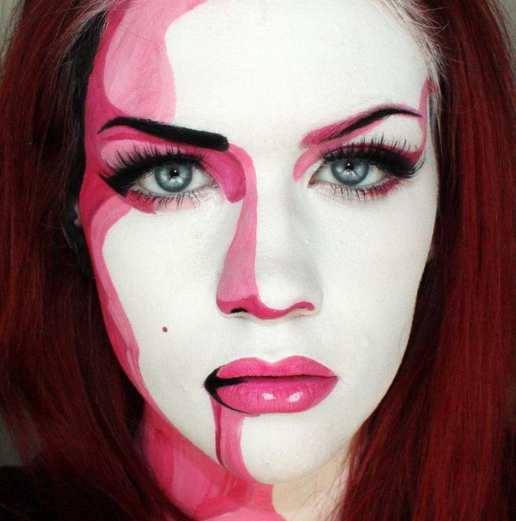 Talented makeup artist Sssamanthaa (twitter/instagram @Samantha Villa) makes herself into a pop art painting.