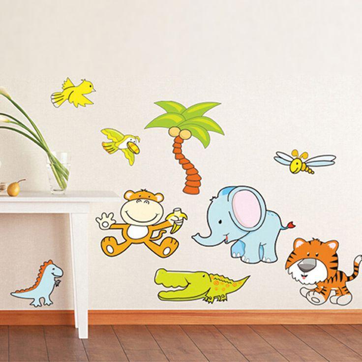 Majom, elefánt, krokodil, dínó gyerekszoba dekoráció