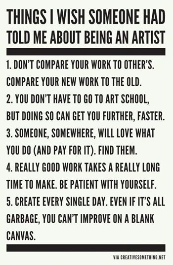 Creative Something - Things I Wish Someone Has Told Me About Being An Artist.