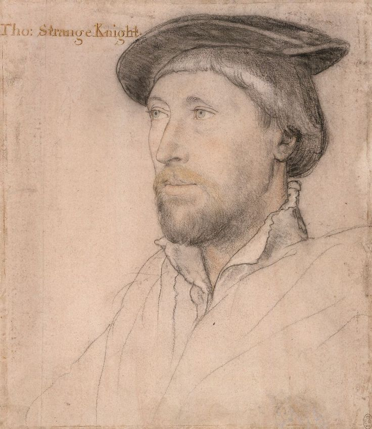 """Sir Thomas Lestrange (c.1490-1545) ~ the artist, Hans Holbein the Younger, titled this portrait """"Tho. Strange Knight"""""""