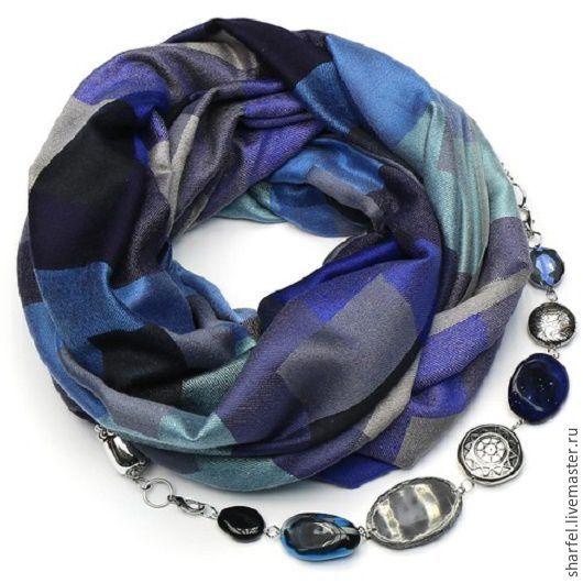 Купить Кашемировый шарф-ожерелье (клетка-синий) - шарф, шарф женский, шарф в подарок