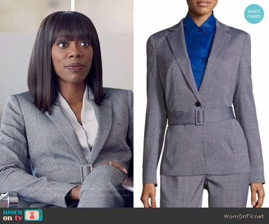 Molly's grey belted blazer on Insecure.  Outfit Details: https://wornontv.net/78143/ #Insecure