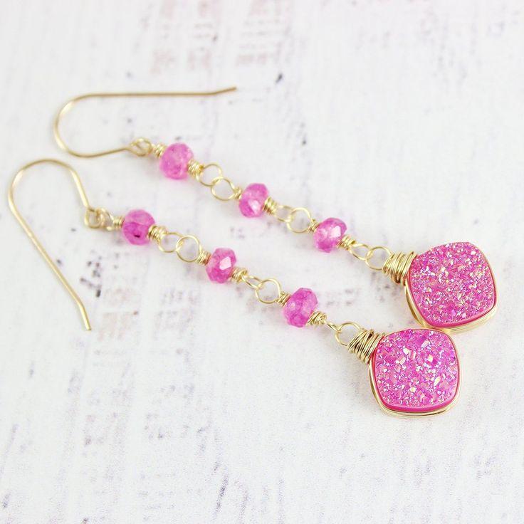 HOT PINK DRUZY LONG DANGLE EARRINGS | Earrings | Necklace | Jewelry | Gemstone Jewelry | #gemstone #druzy #gemstonejewelry #jewelry #handmadejewelry | www.starlettadesigns.com