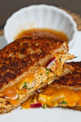 Tandoori Chicken Melt Ingredients: 1 tablespoon mayo 1/2 cup tandoori chicken (shredded) 1 tablespoon red onion (diced) 1 small green chili (chopped) 1 tablespoon cilantro (chopped) 1 splash lemon juice 2 slices bread 1 slice cheddar cheese 1 tablespoon butter (room temperature)
