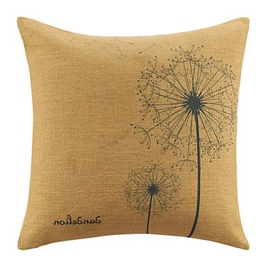Simplicity Dandelions Pattern  Brown Decorative Pillow Cover – USD $ 10.49