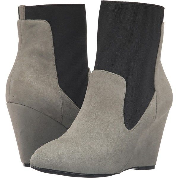 Charles by Charles David Erie (Stone Grey) Women's Boots ($105) ❤ liked on Polyvore featuring shoes, boots, ankle boots, grey, gray ankle boots, pull on boots, short grey boots, slip on boots and grey boots