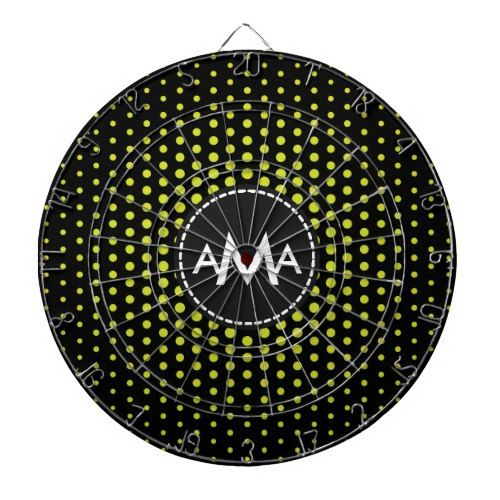 Monogram Acid Green Techno Dots Modern Dartboard With Darts
