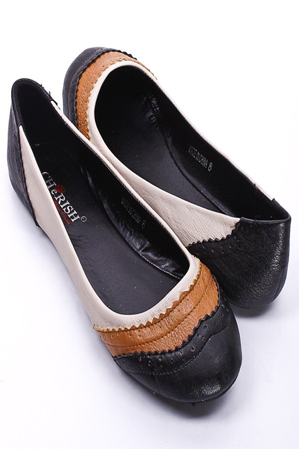 Black Faux Leather Oxford Inspired Ballerina Flats Women S