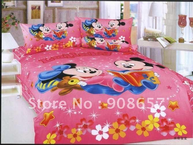 Ситец пуховое одеяло футляр микки маус темно-розовые мультфильм узор на детская кроватка в сумке с листом постельное белье