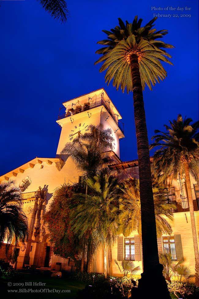 Santa Barbara County Courthouse Evening Under the Clock Tower.    Photographic Print        http://www.BillHeller.com