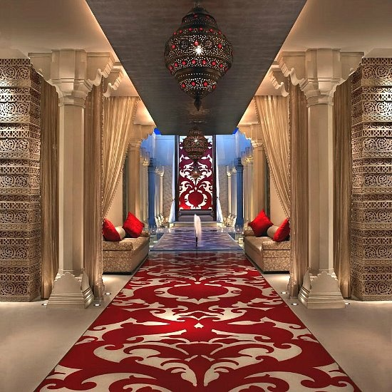 Lobby of the 5 star hotel ITC Mughal Kaya Kalp -Sprawled over 35 acres of luxurious gardens, and in close proximity to the Taj Mahal, ITC Mughal, a 5 star hotel  - In Agra is a fitting tribute to the great Mughal builders of the past. - http://www.itchotels.in/Hotels/itcmughal.aspx