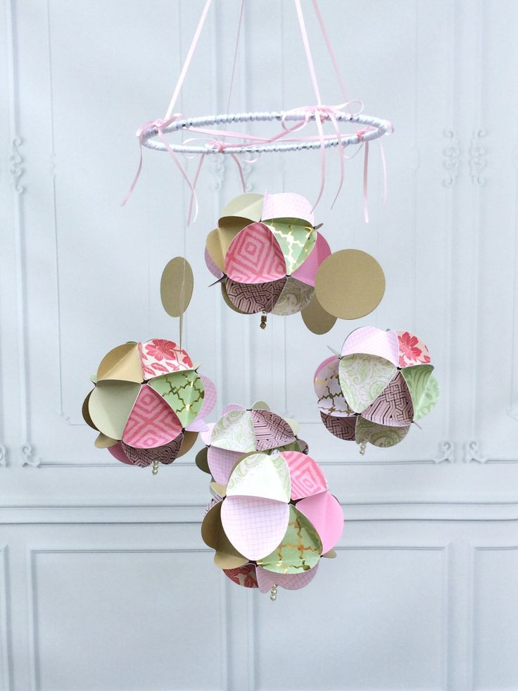 Baby Mobile Hanging - Boho Baby Mobile - Baby Mobile for Cribs - Pink Gold - Paper Baby Mobile - Baby Girl Mobile - Handmade Baby Mobile