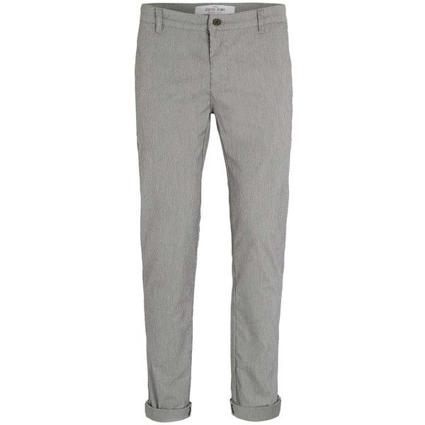 TOPMAN Light Grey Textured Skinny Chinos (£35) ❤ liked on Polyvore featuring men's fashion, men's clothing, men's pants, men's casual pants, grey, mens skinny chino pants, mens gray dress pants, mens grey dress pants, mens light gray dress pants and mens skinny fit dress pants