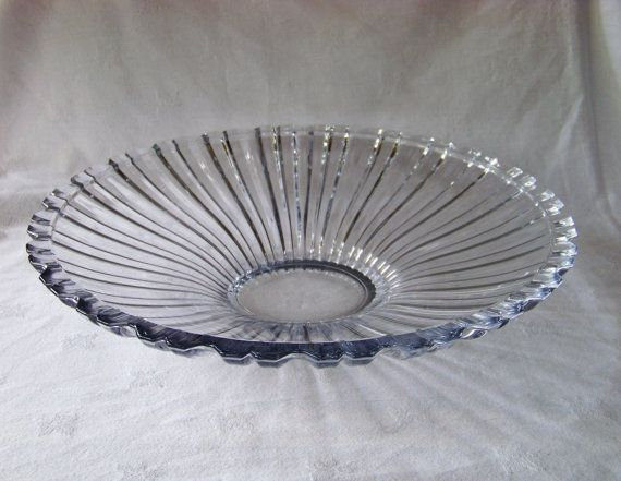Vintage Large Heavy Pressed Glass Serving Bowl with Scalloped