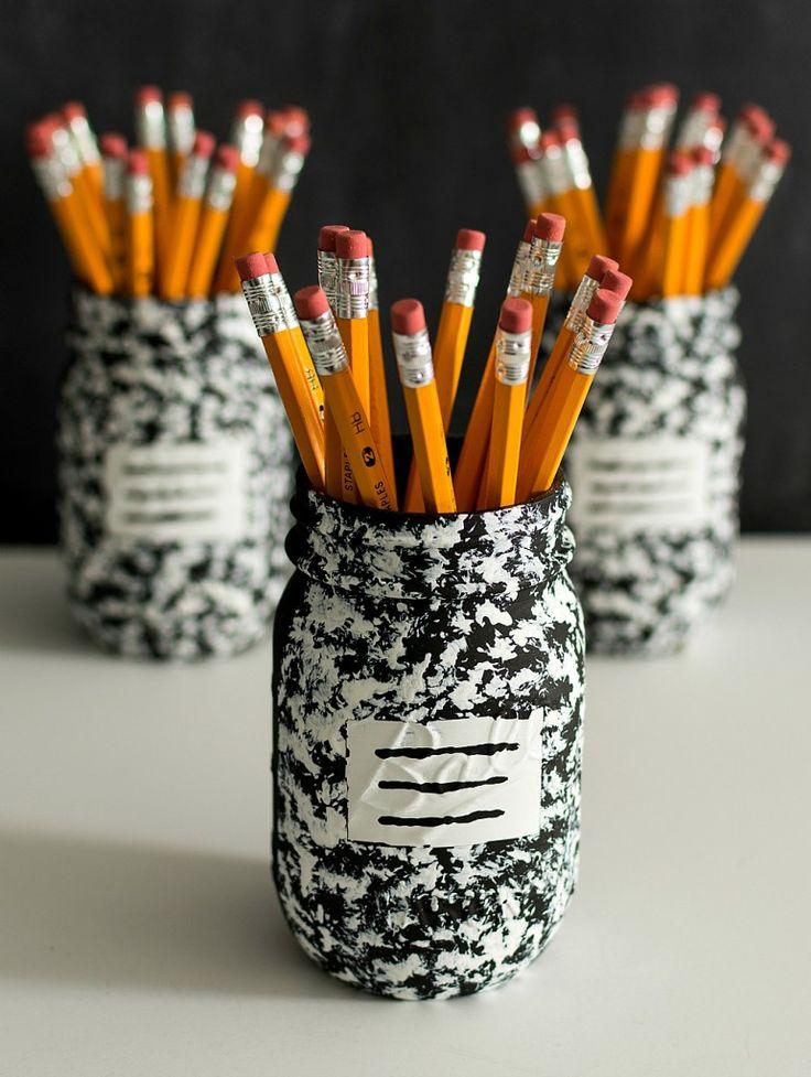 DIY Pencil Holder Mason Jar Craft Composition @Mason Jar Crafts Love