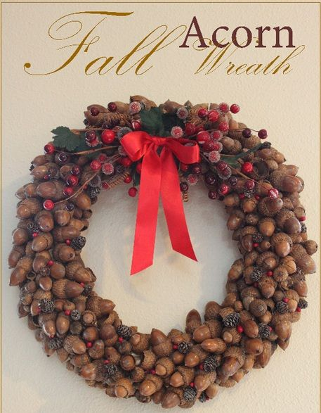 crafts with acorns and pine cones | Fabulous Acorn Wreath Tutorials for DIY Lovers | Small Room Ideas
