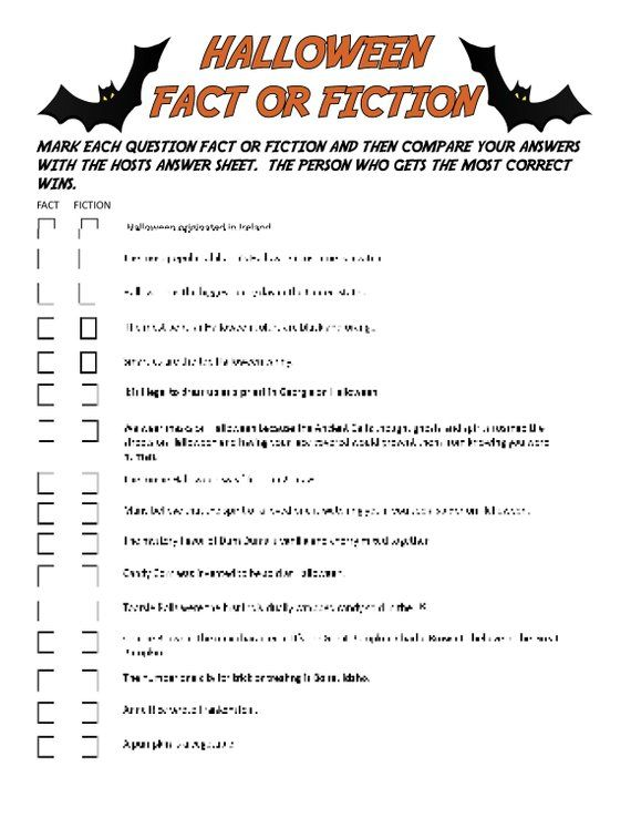Halloween fact or fiction digital download trivia game | etsy.